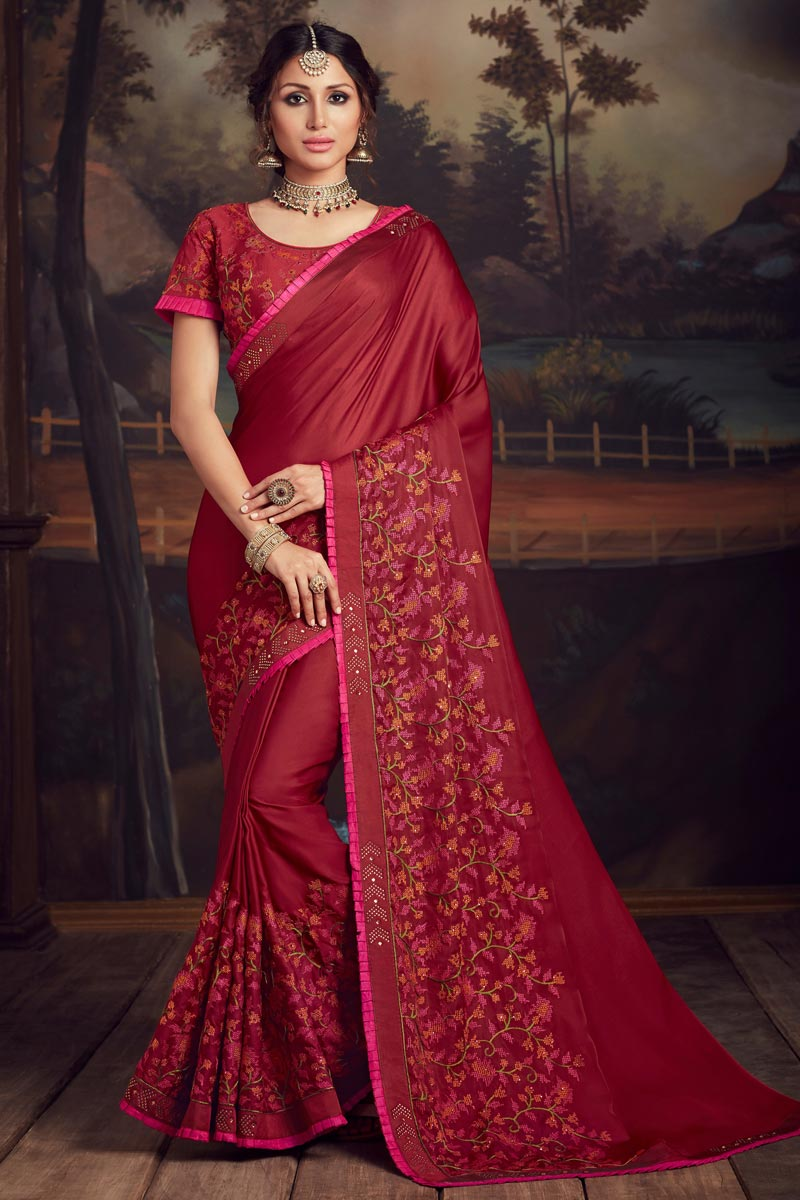 Art Silk Elegant Party Style Red Color Thread Embroidered Saree