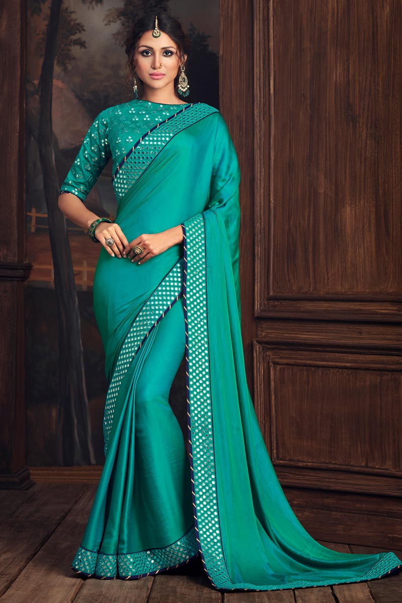 Cyan Color Party Style Art Silk Elegant Thread Embroidered Saree
