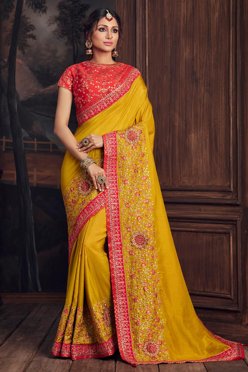 Art Silk Party Style Elegant Thread Embroidered Saree In Yellow Color