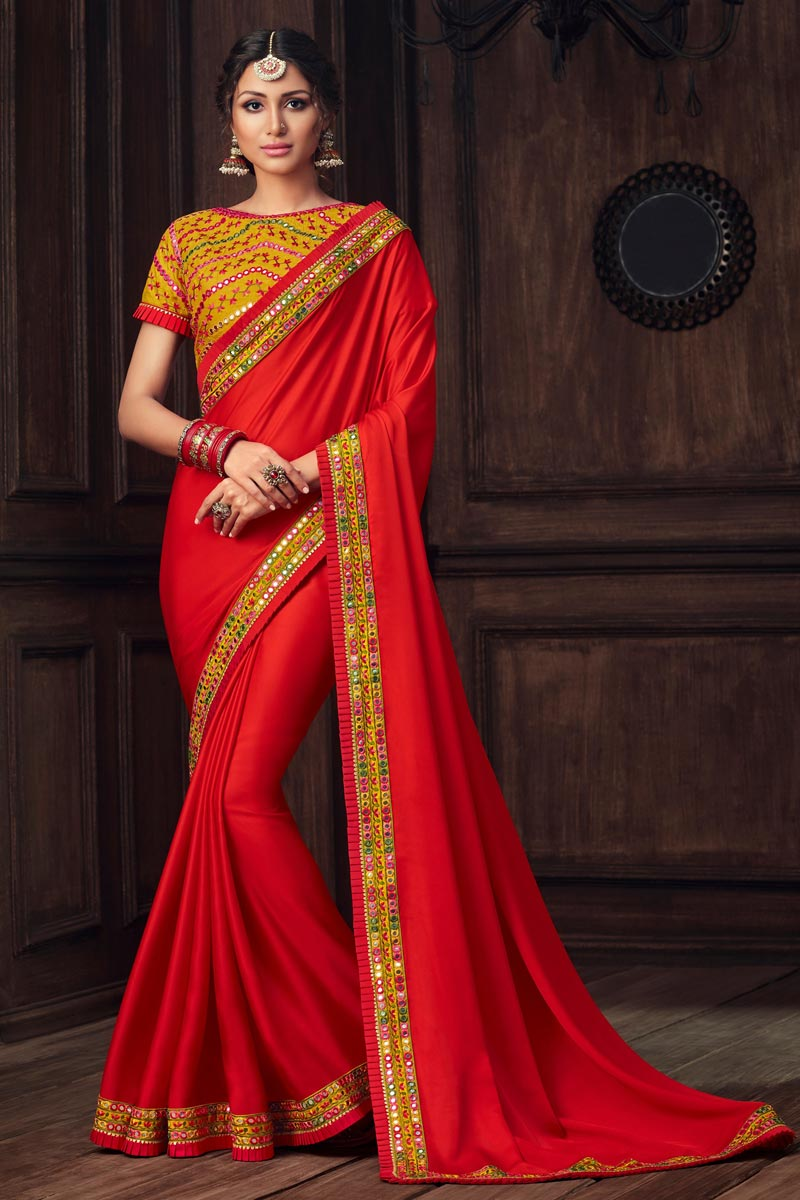 Party Style Red Color Elegant Art Silk Thread Embroidered Saree