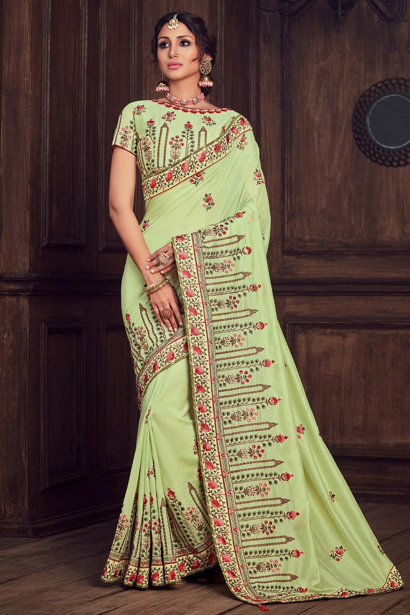 Party Style Art Silk Elegant Thread Embroidered Saree In Sea Green Color