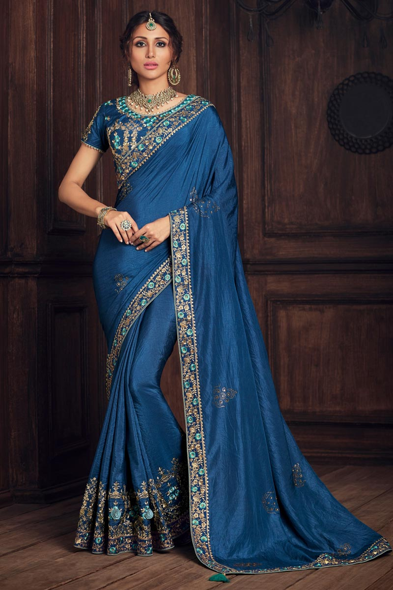 Blue Color Party Style Elegant Art Silk Thread Embroidered Saree