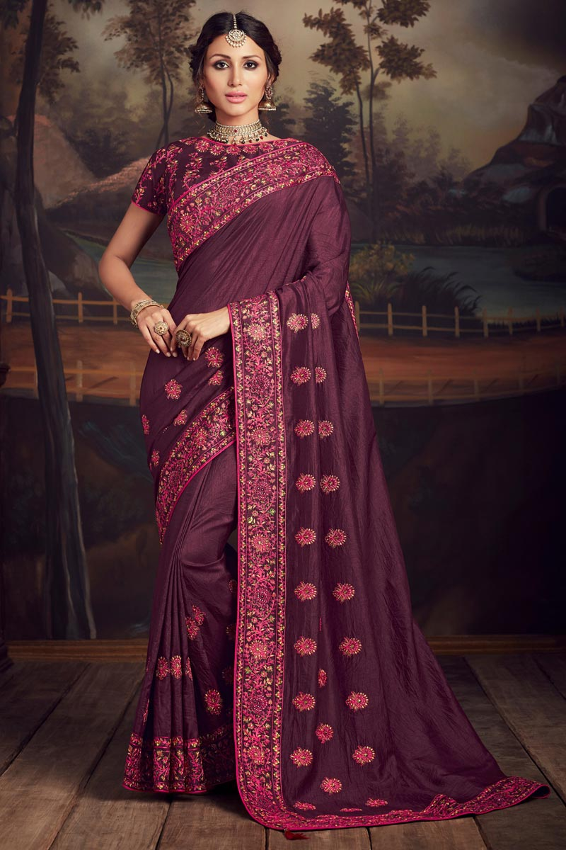 Wine Color Elegant Party Style Art Silk Thread Embroidered Saree