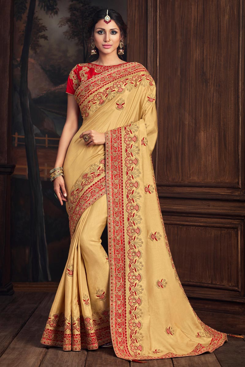 Art Silk Party Style Beige Color Elegant Thread Embroidered Saree