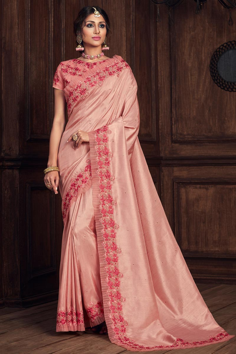 Party Style Pink Color Elegant Thread Embroidered Saree In Art Silk