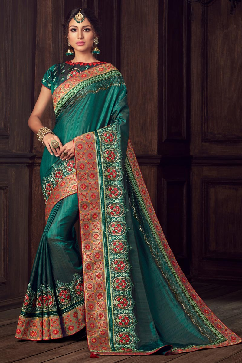 Art Silk Party Style Elegant Green Color Thread Embroidered Saree