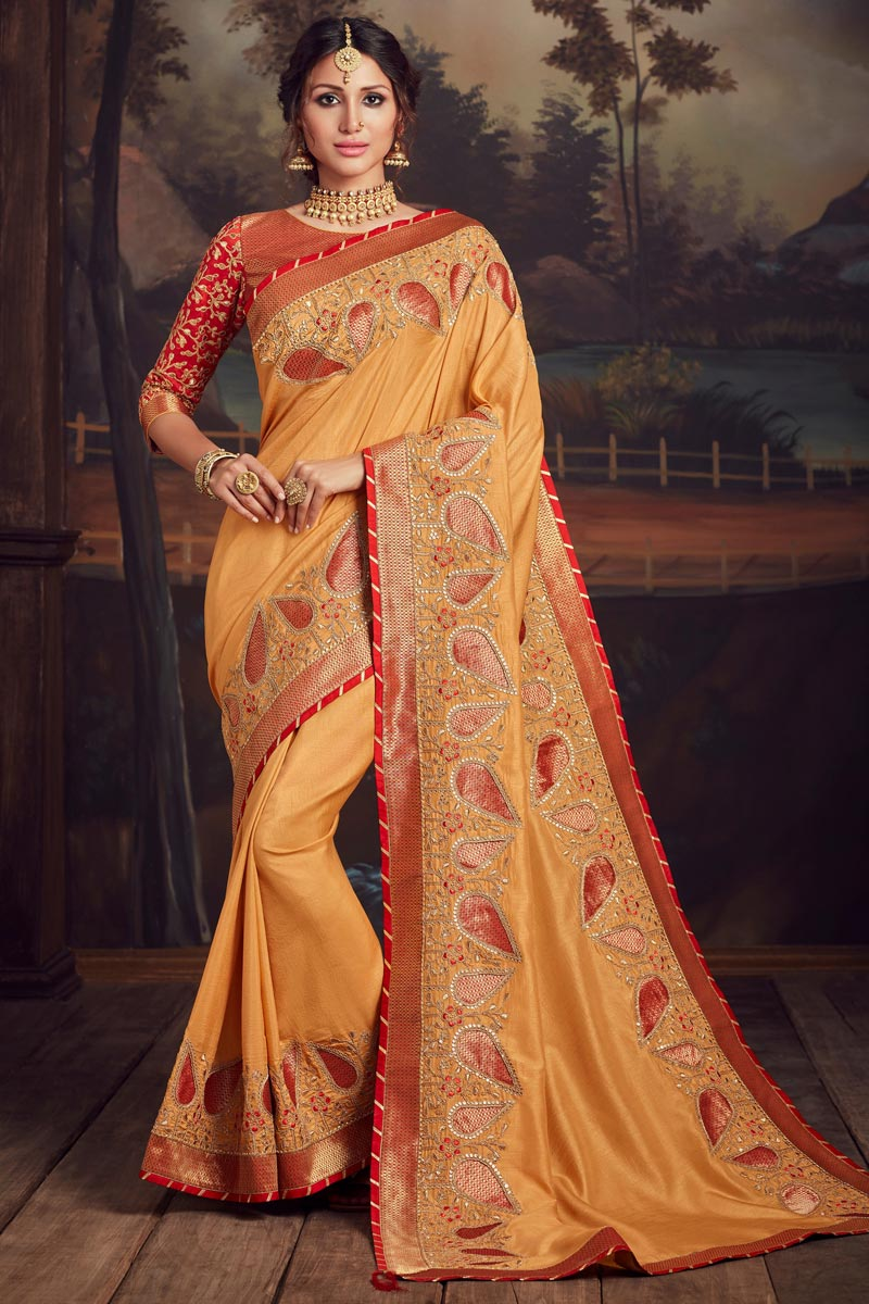 Art Silk Trendy Party Style Mustard Color Thread Embroidered Saree