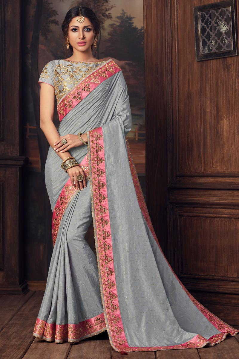 Grey Color Party Style Art Silk Trendy Thread Embroidered Saree