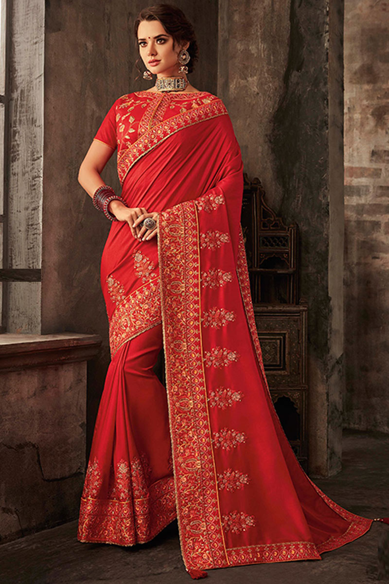 Embroidery Work On Red Color Art Silk Fabric Party Wear Saree With Amazing Blouse