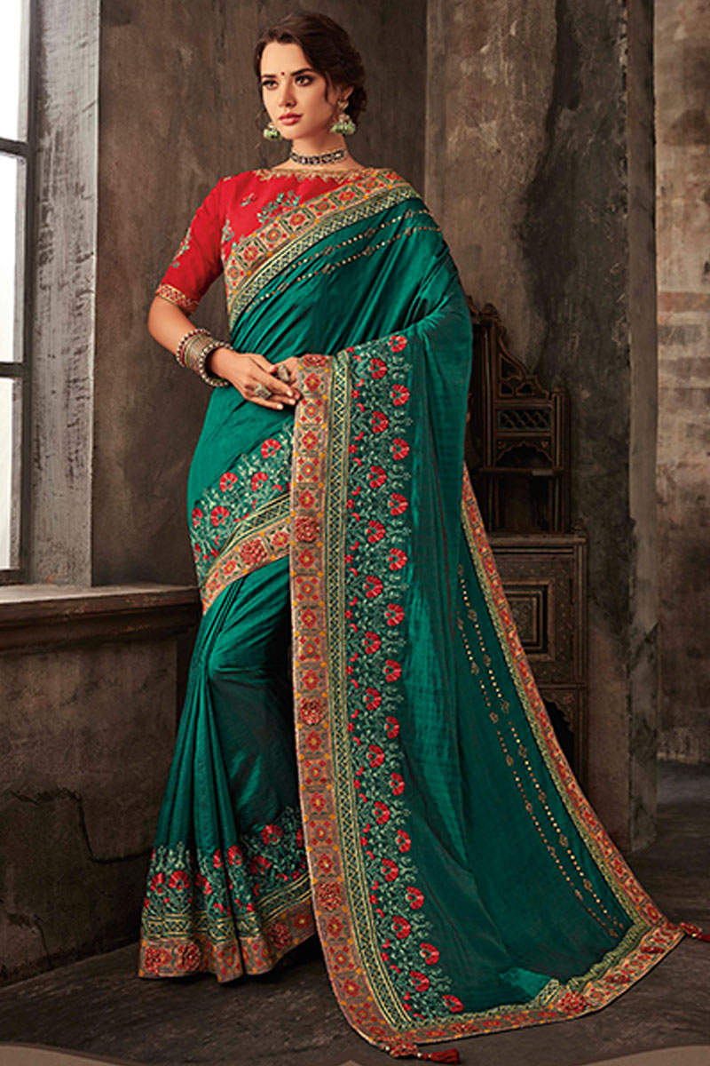 Art Silk Fabric Dark Green Color Festive Saree With Embroidery Work And Gorgeous Blouse