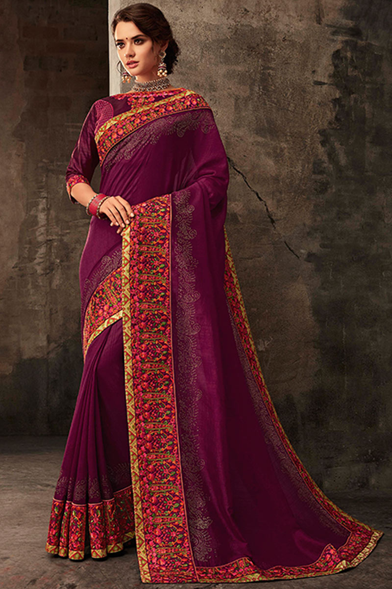 Purple Color Art Silk Fabric Wedding Wear Saree With Embroidery Work And Gorgeous Blouse