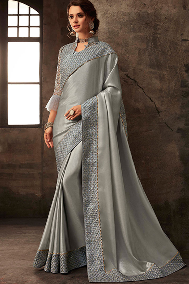 Reception Wear Embroidery Work Saree In Art Silk Fabric Grey Color With Charming Blouse