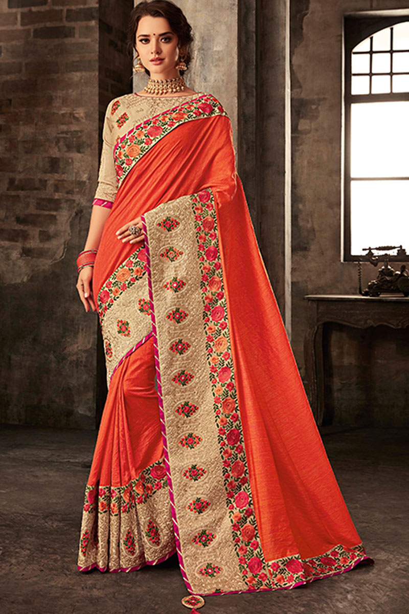 Orange Color Designer Embroidery Work Saree In Art Silk Fabric With Admirable Blouse