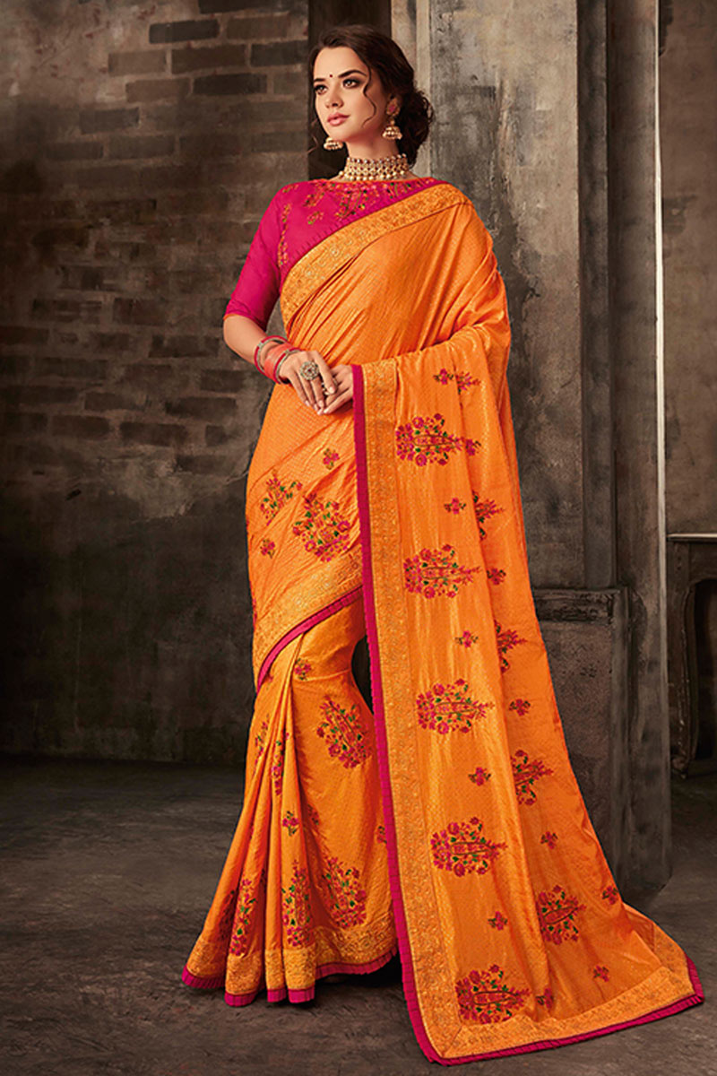 Embroidery Work On Art Silk Fabric Party Wear Saree In Orange Color With Ravishing Blouse