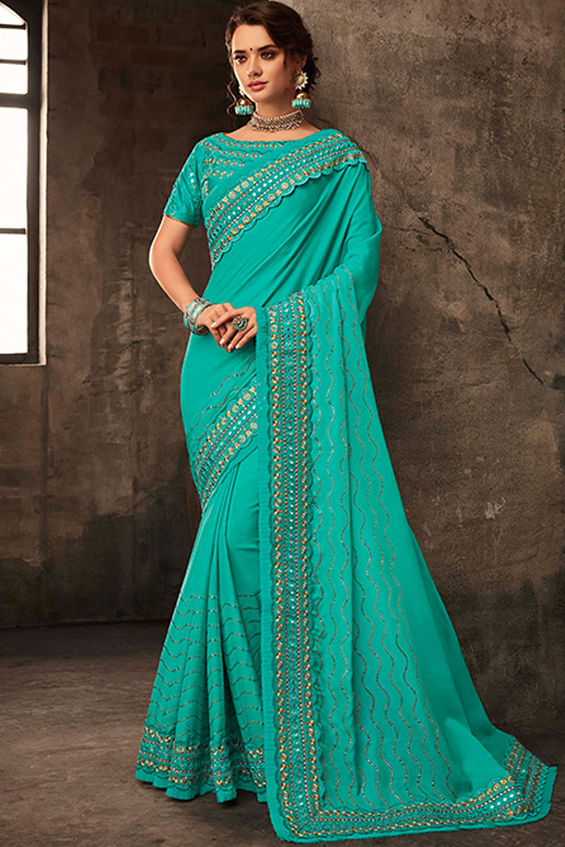 Art Silk Fabric Cyan Color Occasion Wear Saree Embroidery Work And Designer Blouse