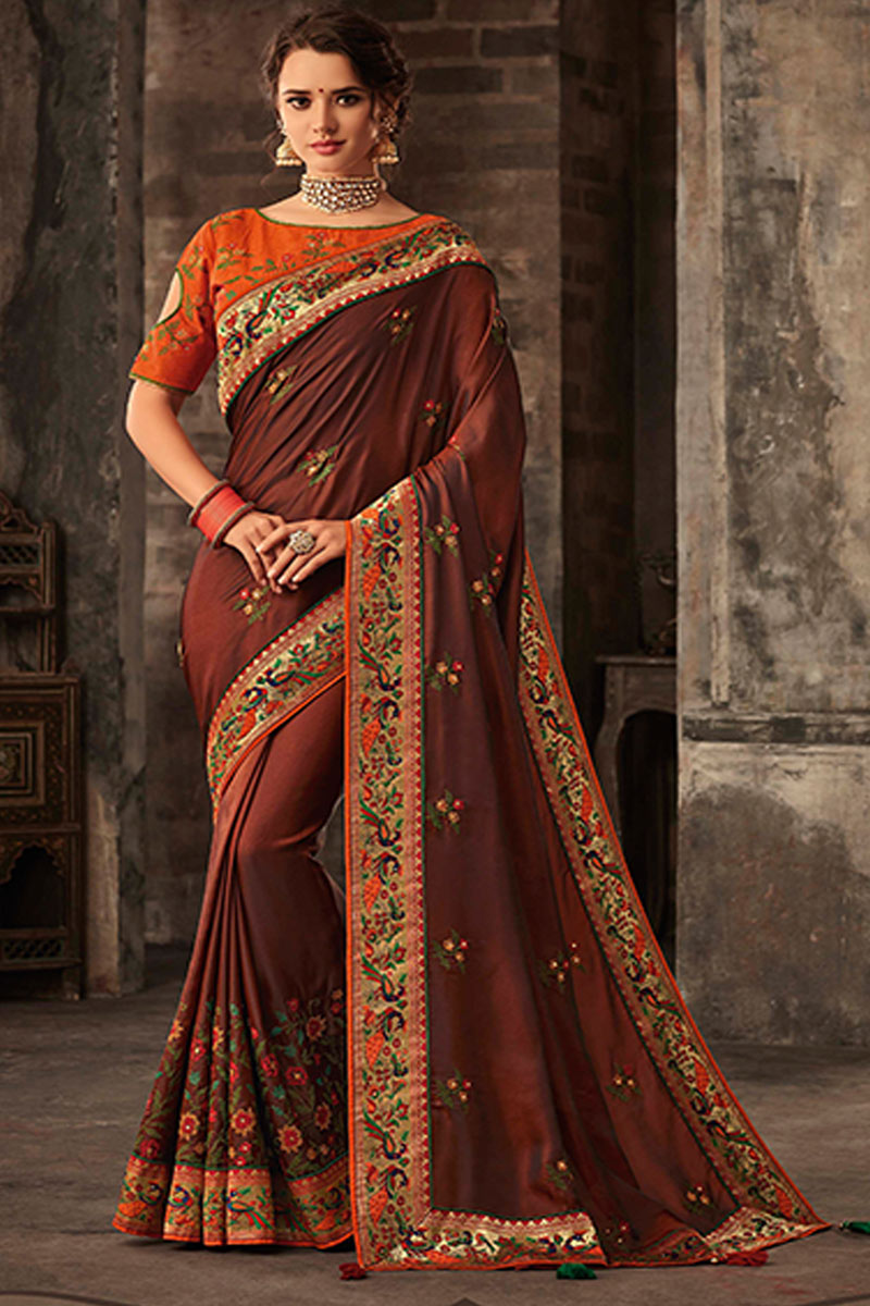 Function Wear Art Silk Fabric Saree In Brown Color With Embroidery Work And Party Wear Blouse