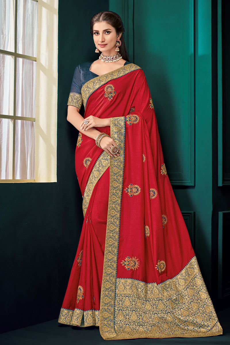Art Silk Fabric Jacquard Work Designs On Red Reception Wear Saree With Attractive Blouse