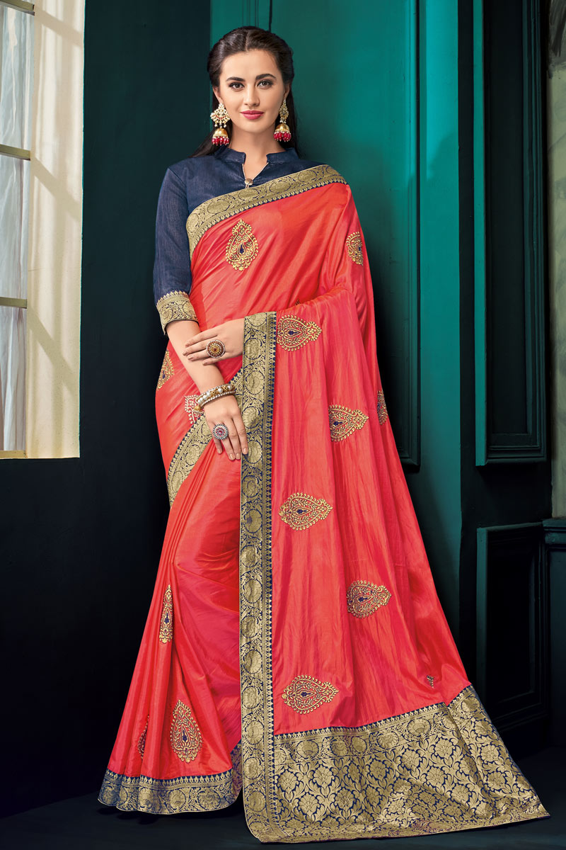Jacquard Work On Occasion Wear Saree In Red With Designer Blouse