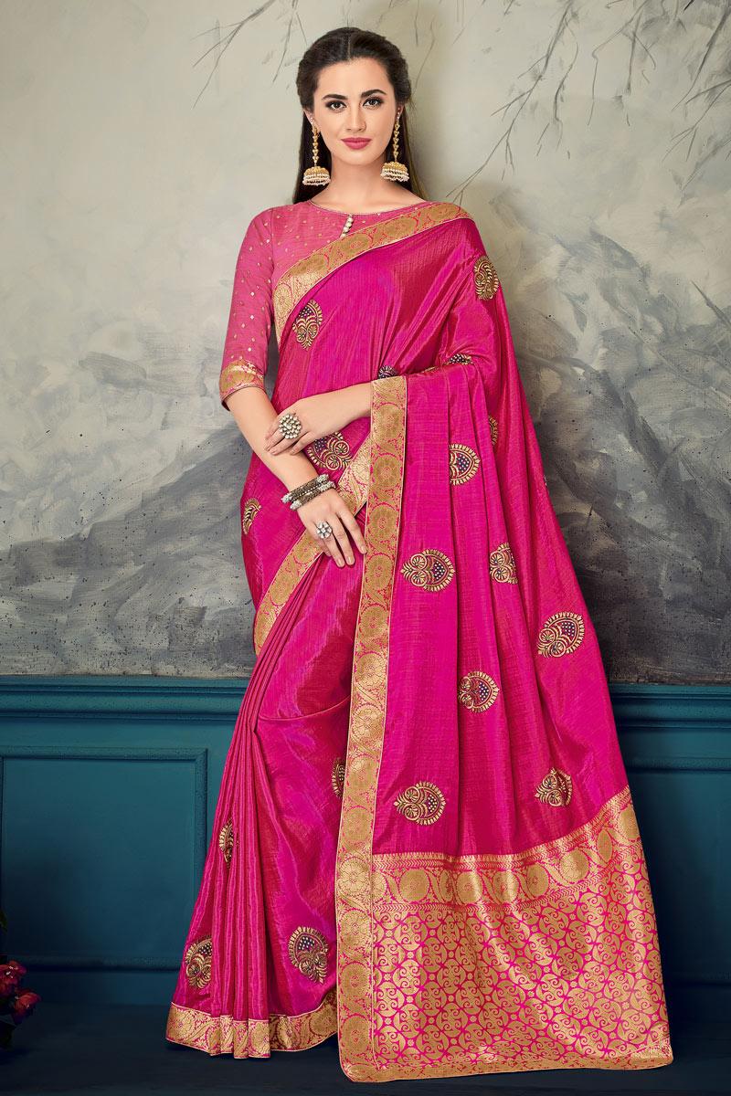 Rani Art Silk Fabric Wedding Wear Saree With Jacquard Work And Gorgeous Blouse