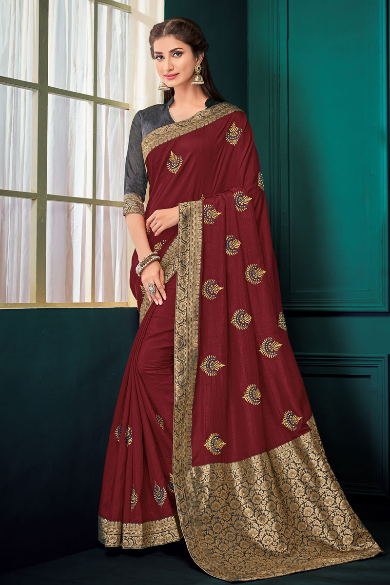 Jacquard Work On Maroon Designer Saree In Art Silk Fabric With Admirable Blouse
