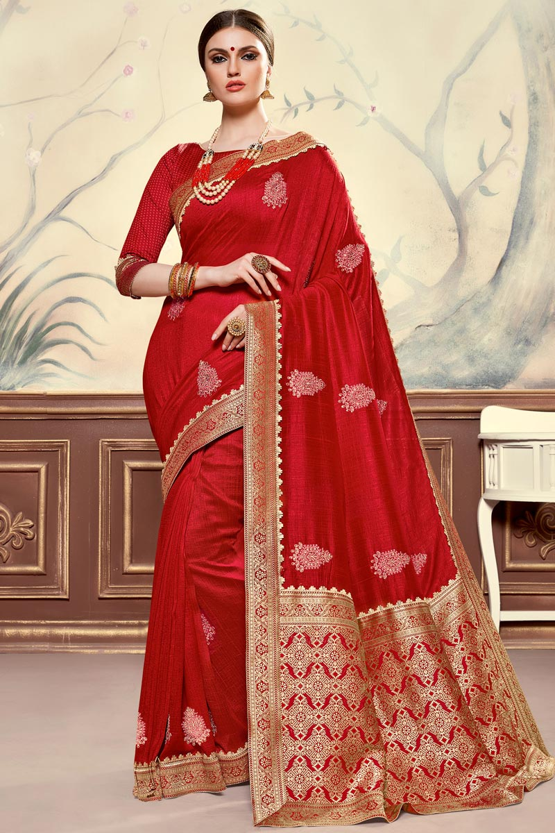 Art Silk Fabric Elegant Sangeet Function Wear Red Color Embroidered Saree