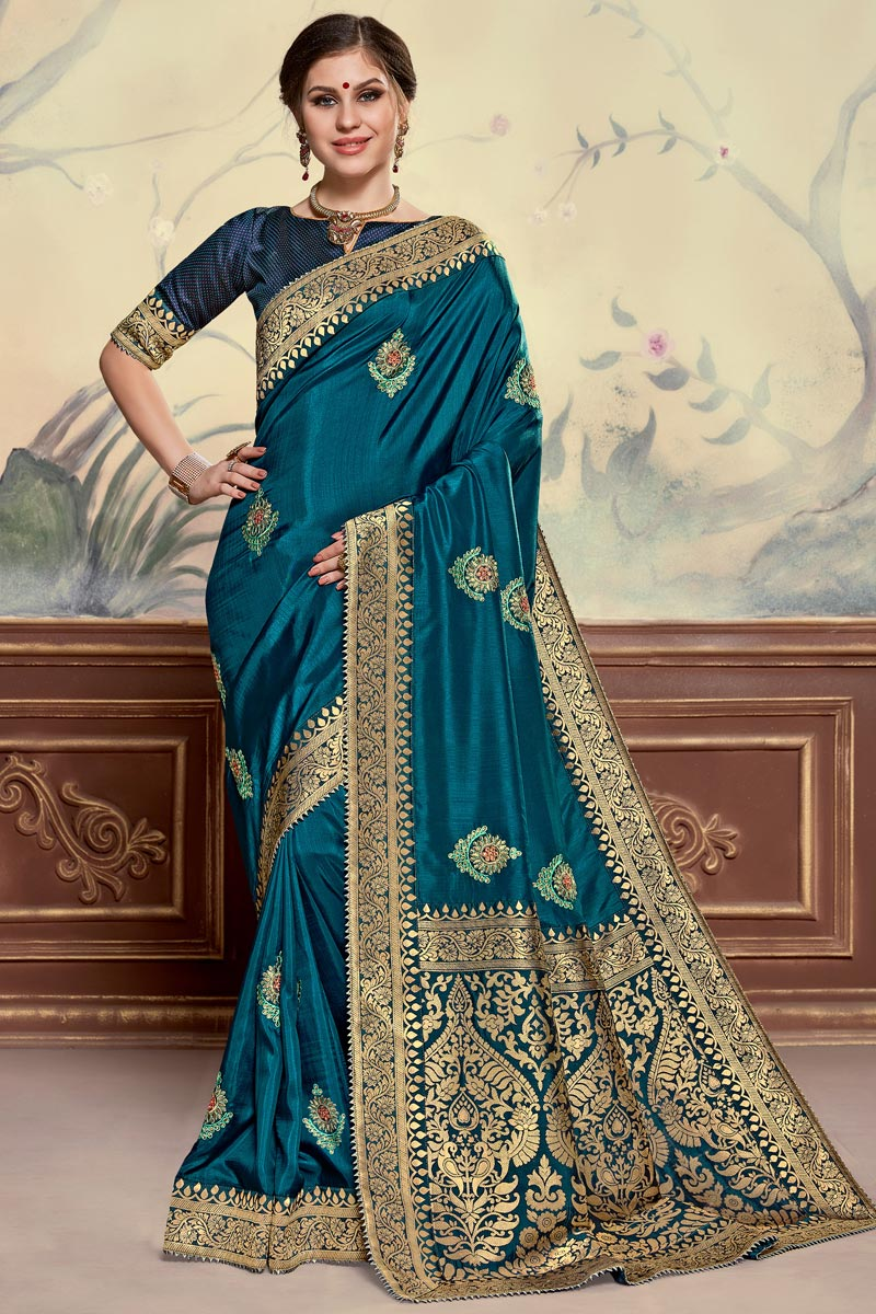 Sangeet Function Wear Elegant Art Silk Fabric Embroidered Teal Color Saree