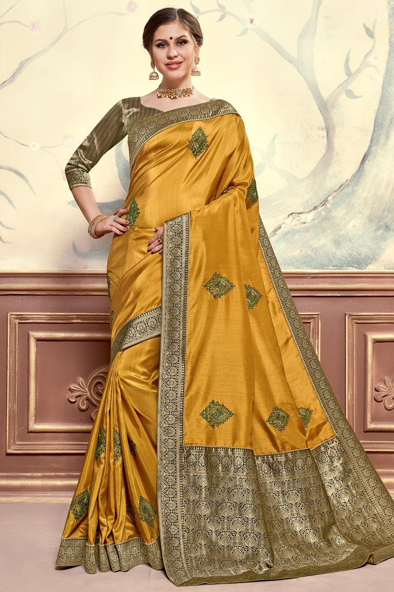 Sangeet Function Wear Elegant Mustard Color Embroidered Saree In Art Silk Fabric