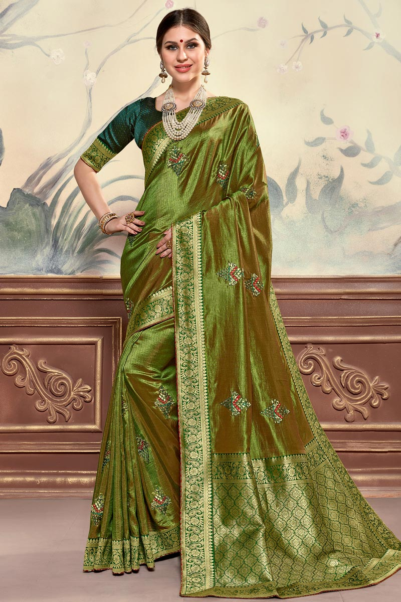 Sangeet Function Wear Green Color Elegant Art Silk Fabric Embroidered Saree