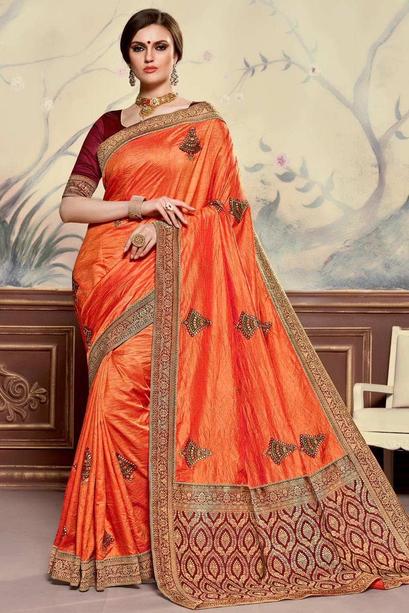 Sangeet Function Wear Orange Color Elegant Embroidered Saree In Art Silk Fabric