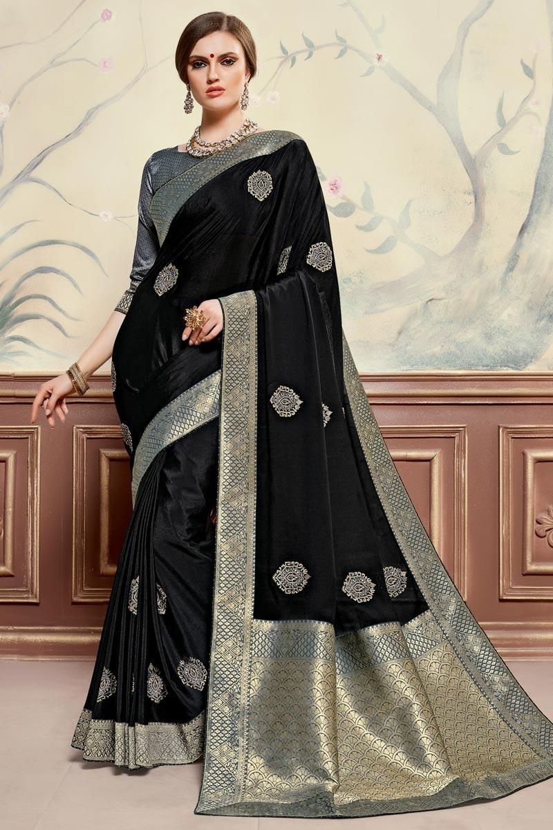 Sangeet Function Wear Black Color Elegant Art Silk Fabric Embroidered Saree