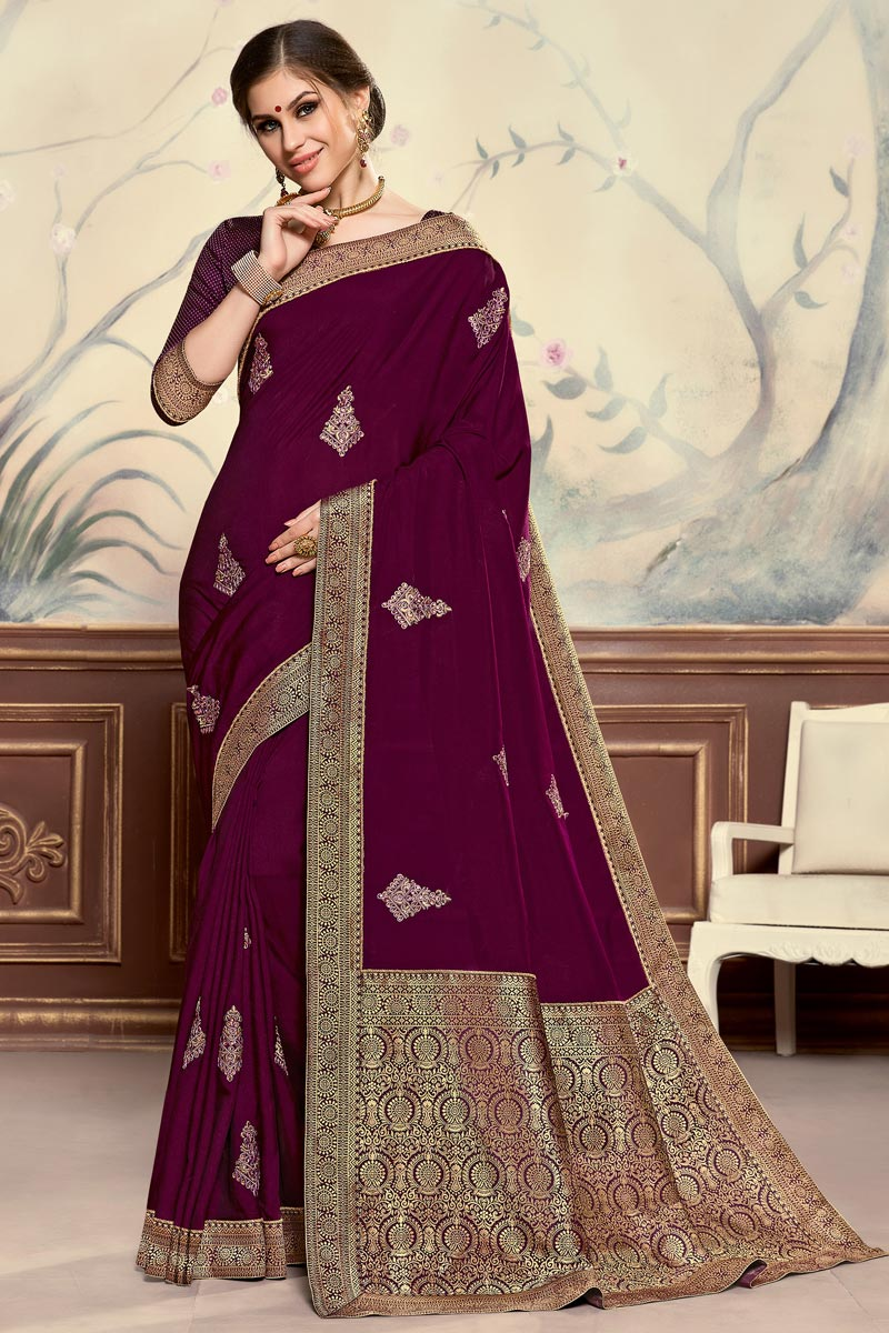Burgundy Color Elegant Sangeet Function Wear Art Silk Fabric Embroidered Saree