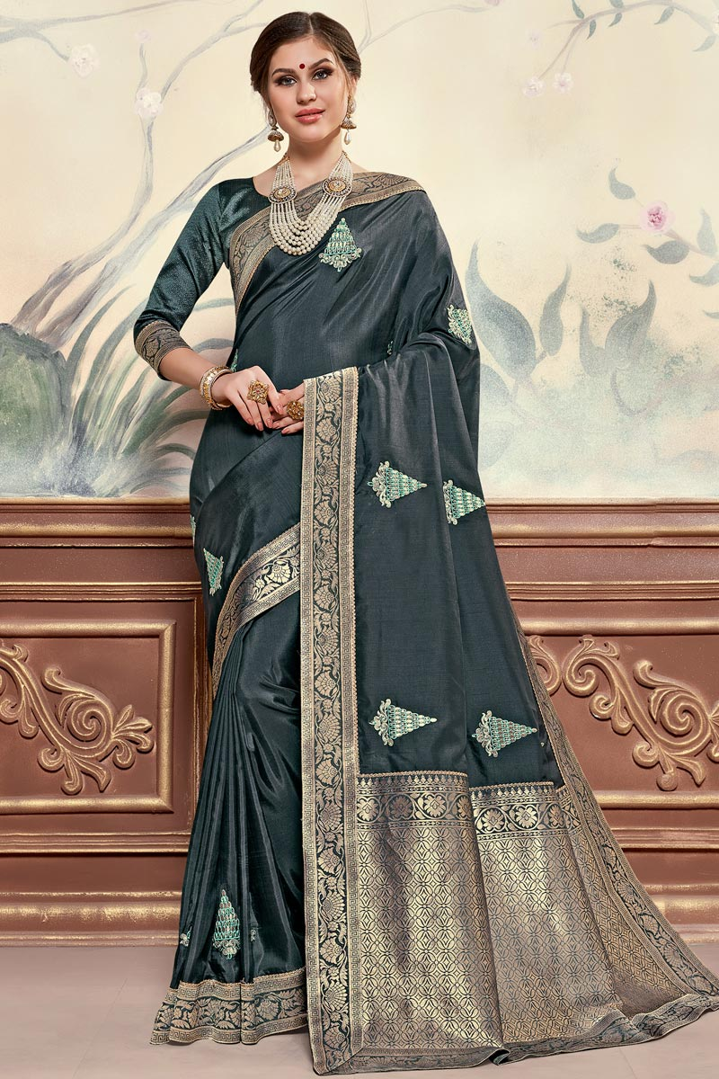 Sangeet Function Wear Elegant Art Silk Fabric Embroidered Saree In Grey Color
