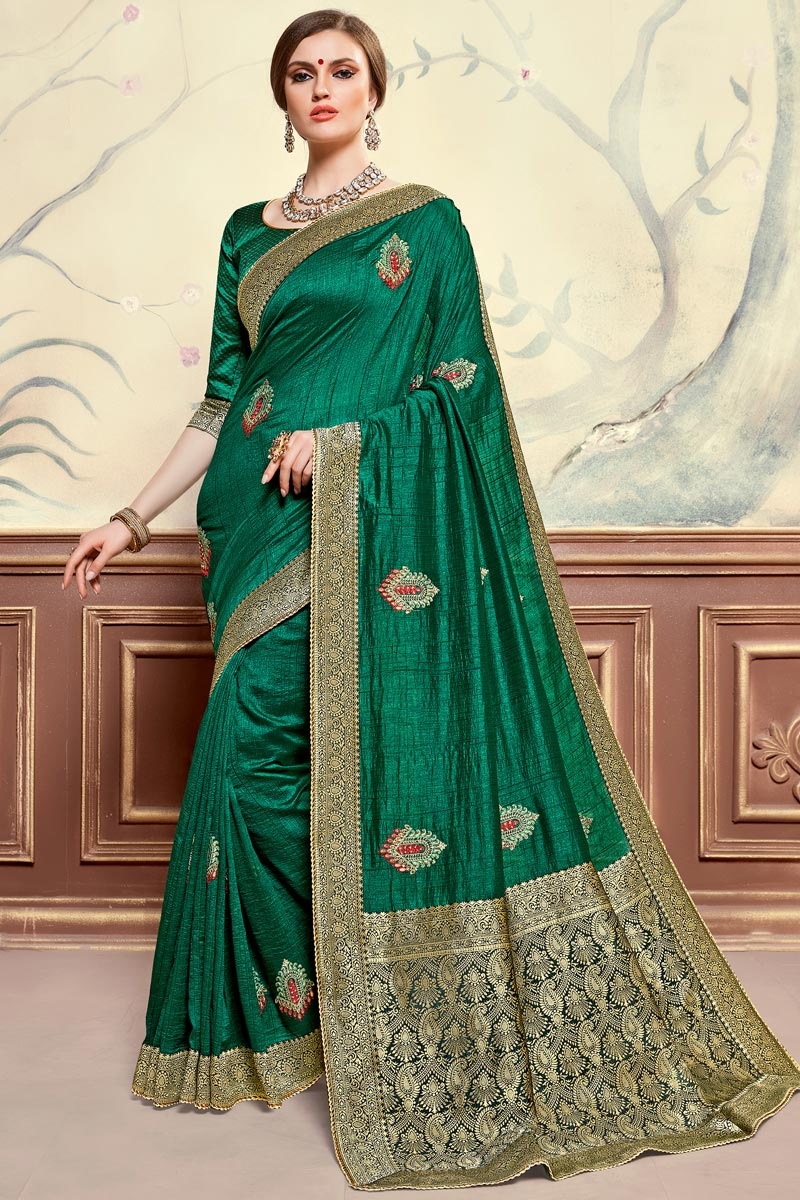 Sangeet Function Wear Art Silk Fabric Elegant Embroidered Saree In Green Color