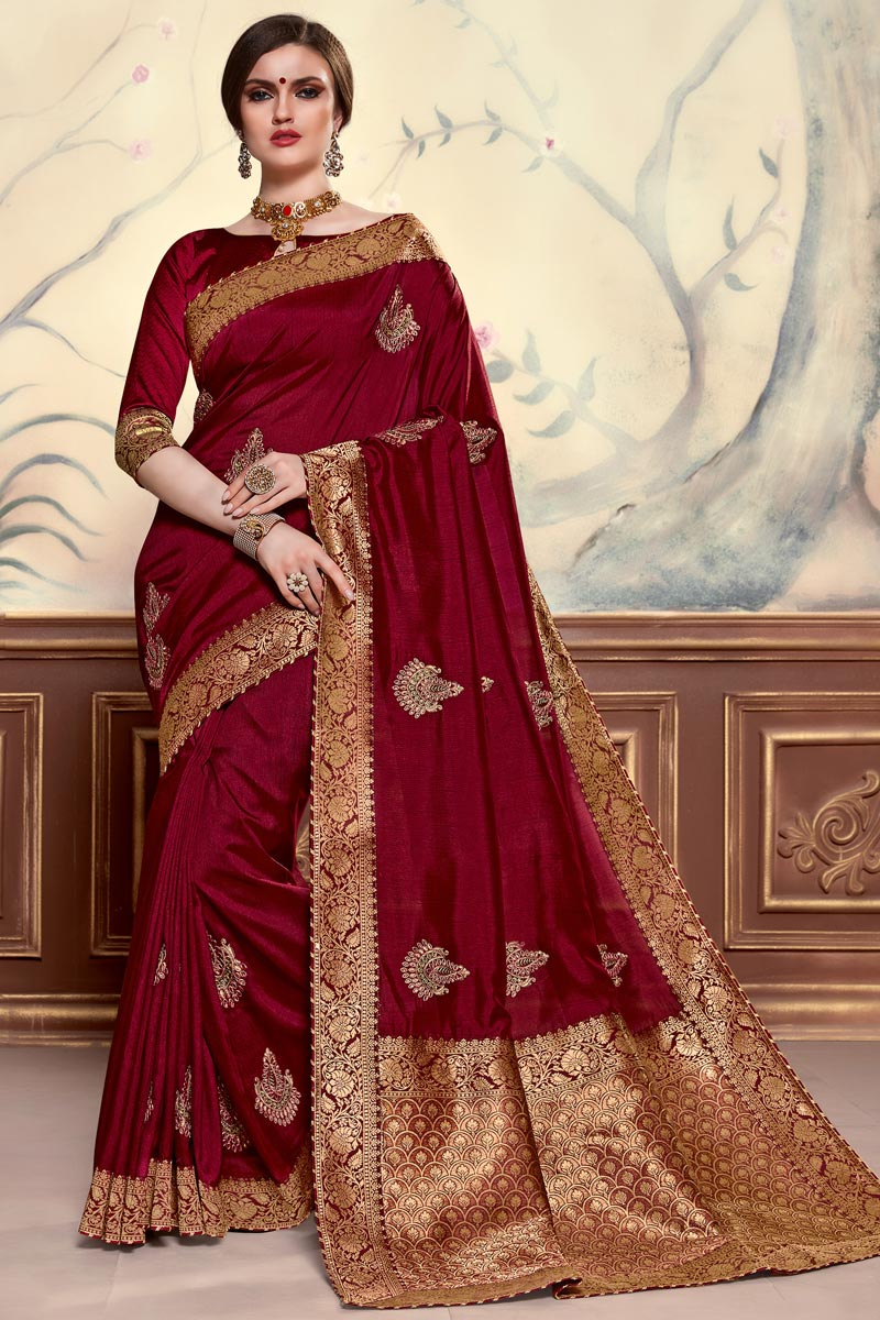 Sangeet Function Wear Elegant Art Silk Fabric Embroidered Maroon Color Saree