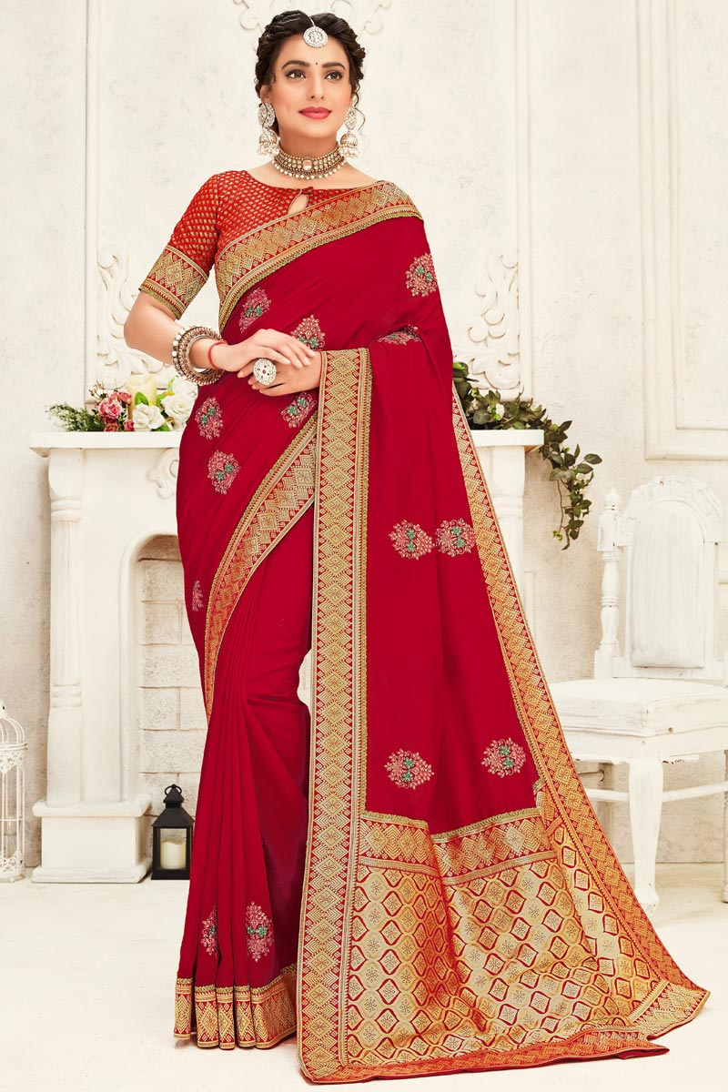 Party Wear Stylish Art Silk Fabric Embroidered Red Color Saree