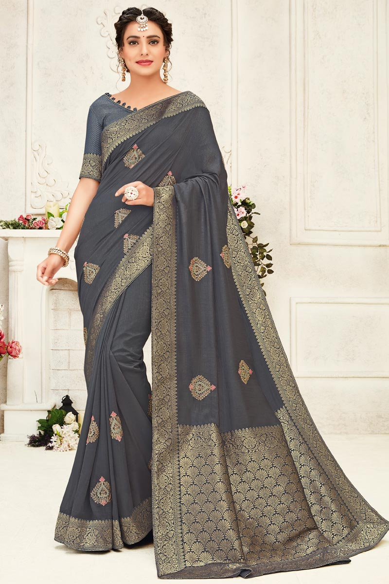 Grey Color Party Wear Art Silk Fabric Stylish Embroidered Saree