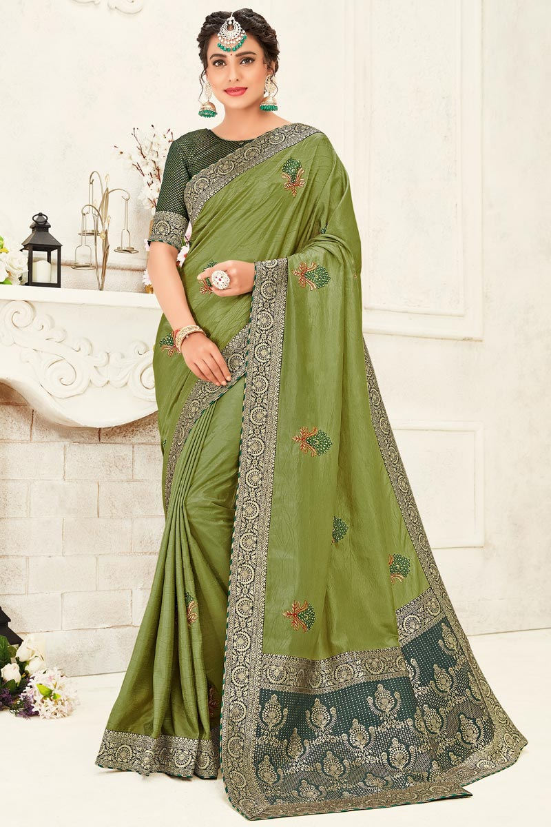 Green Color Stylish Party Wear Art Silk Fabric Embroidered Saree