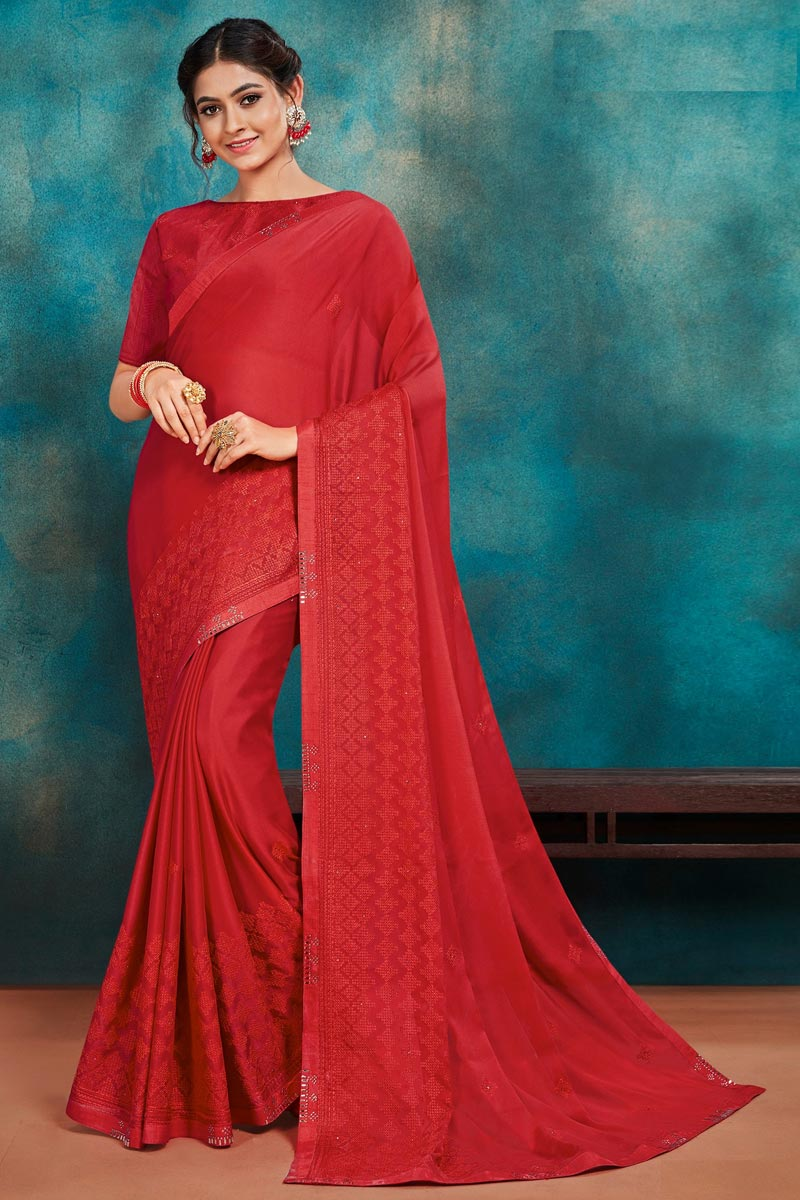 Red Color Festive Wear Art Silk Fabric Chic Thread Embroidered Saree