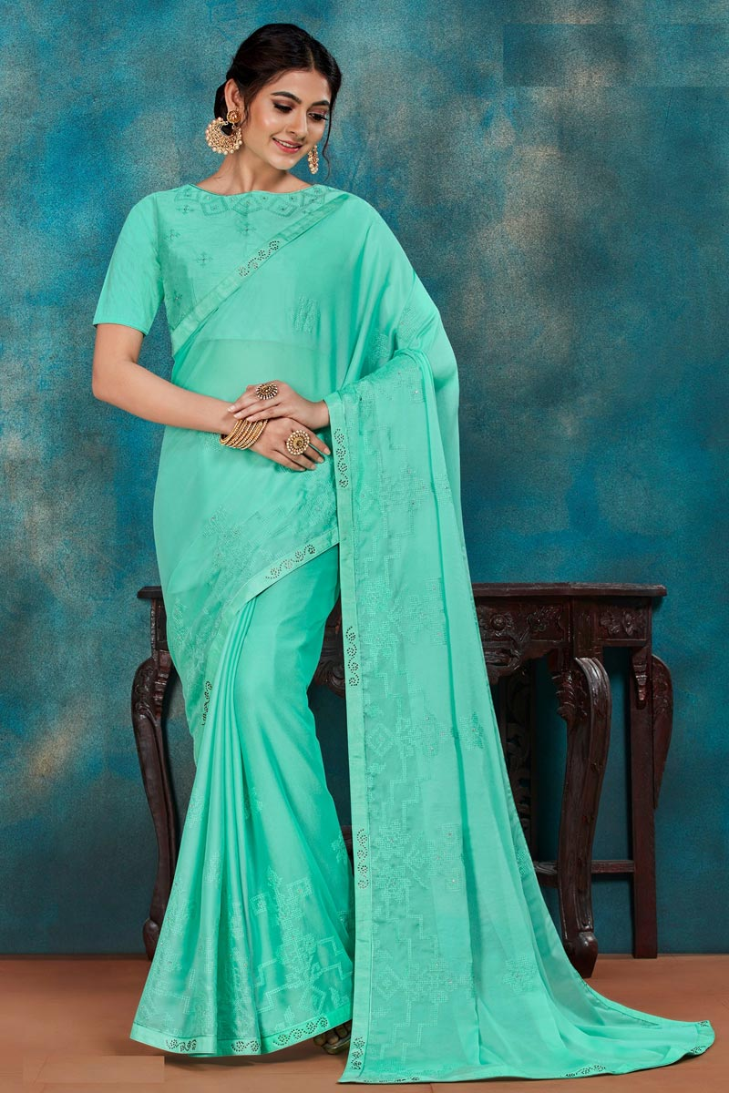 Art Silk Fabric Festive Wear Chic Thread Embroidered Saree In Cyan Color