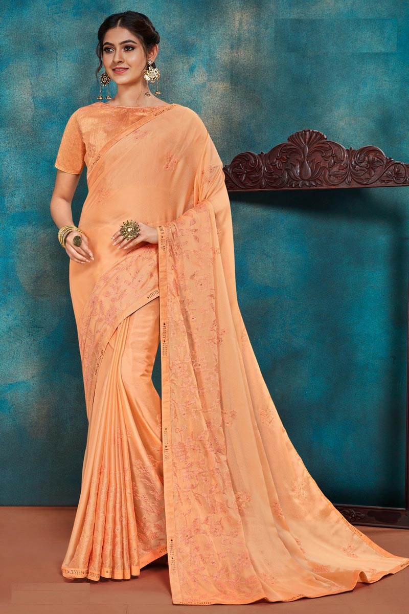 Festive Wear Orange Color Chic Art Silk Fabric Thread Embroidered Saree