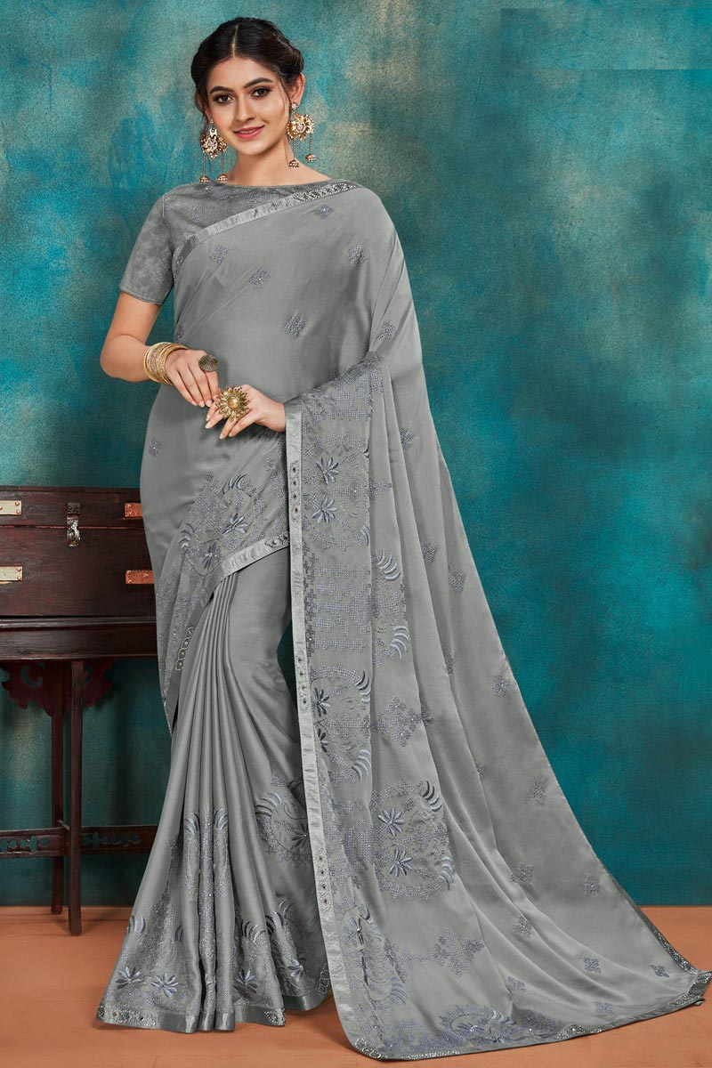 Festive Wear Art Silk Fabric Chic Thread Embroidered Saree In Grey Color