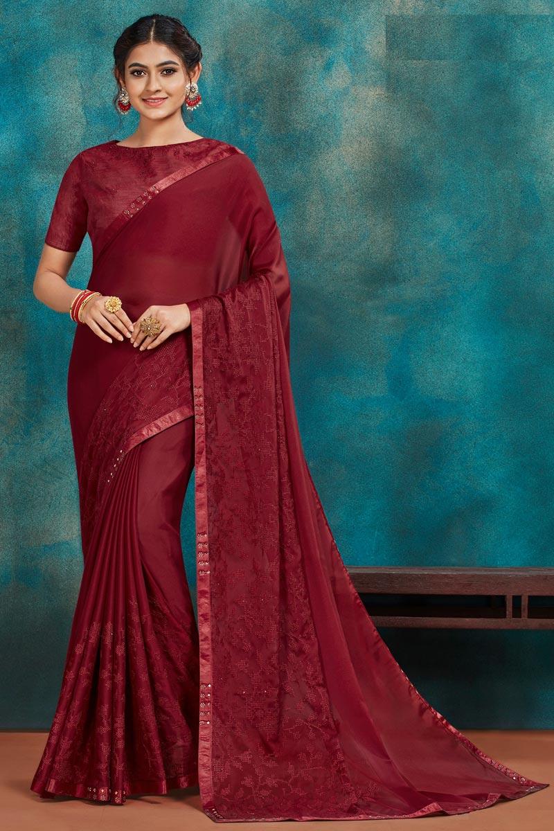 Maroon Color Festive Wear Chic Art Silk Fabric Thread Embroidered Saree