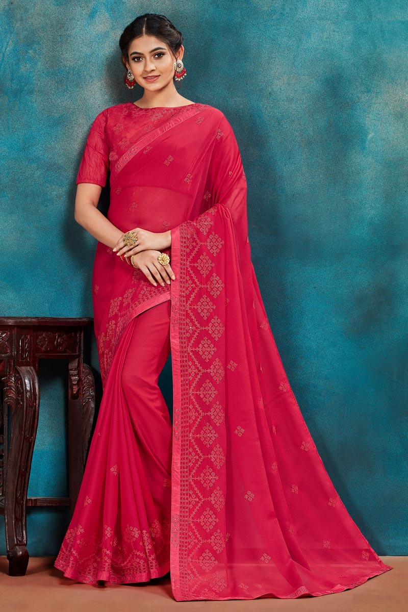 Rani Color Chic Festive Wear Art Silk Fabric Thread Embroidered Saree