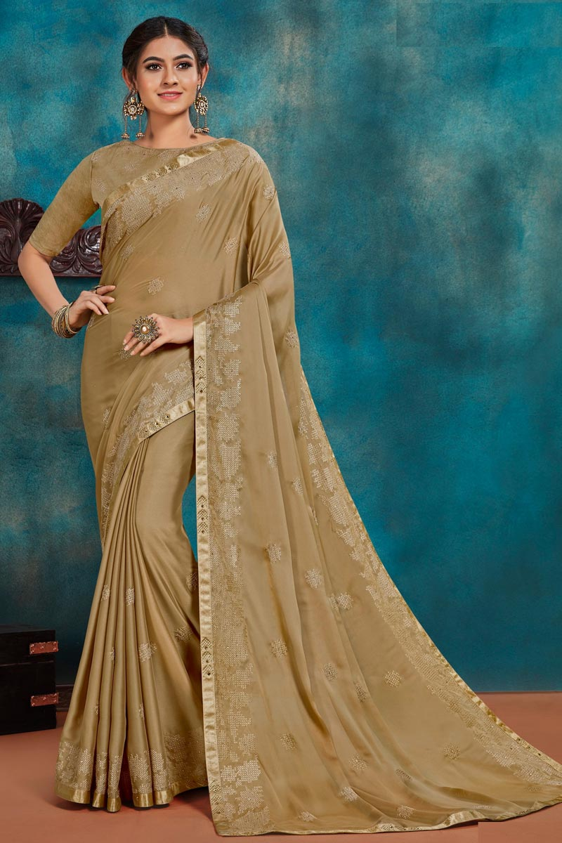 Art Silk Fabric Festive Wear Beige Color Chic Thread Embroidered Saree