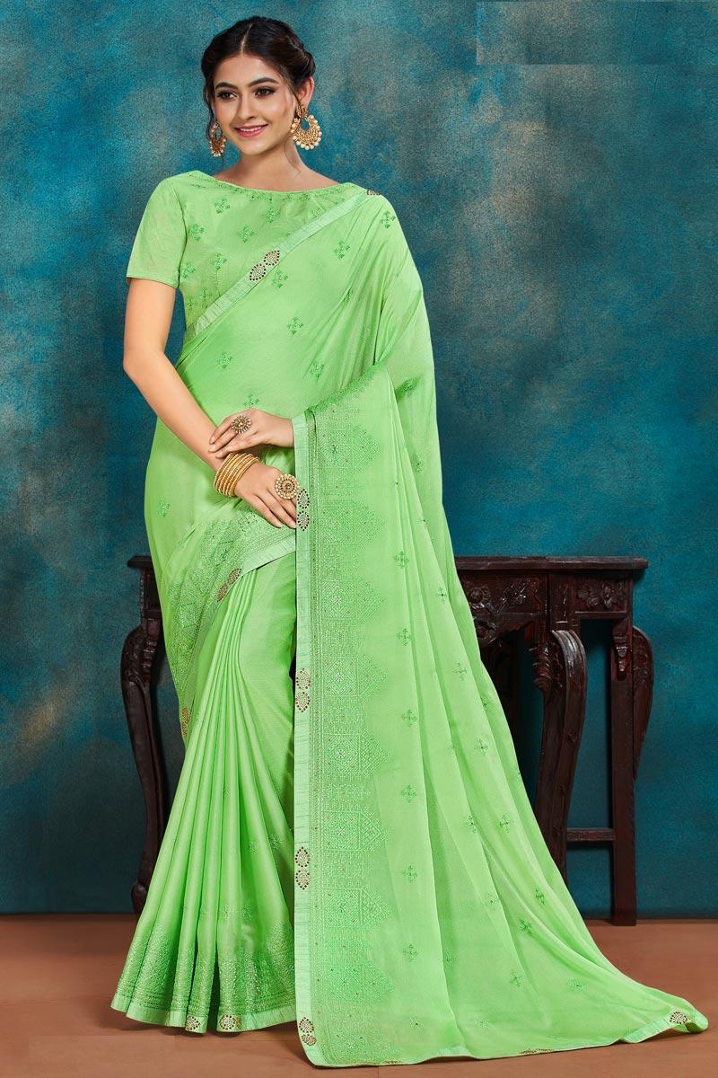 Festive Wear Chic Art Silk Fabric Thread Embroidered Saree In Sea Green Color