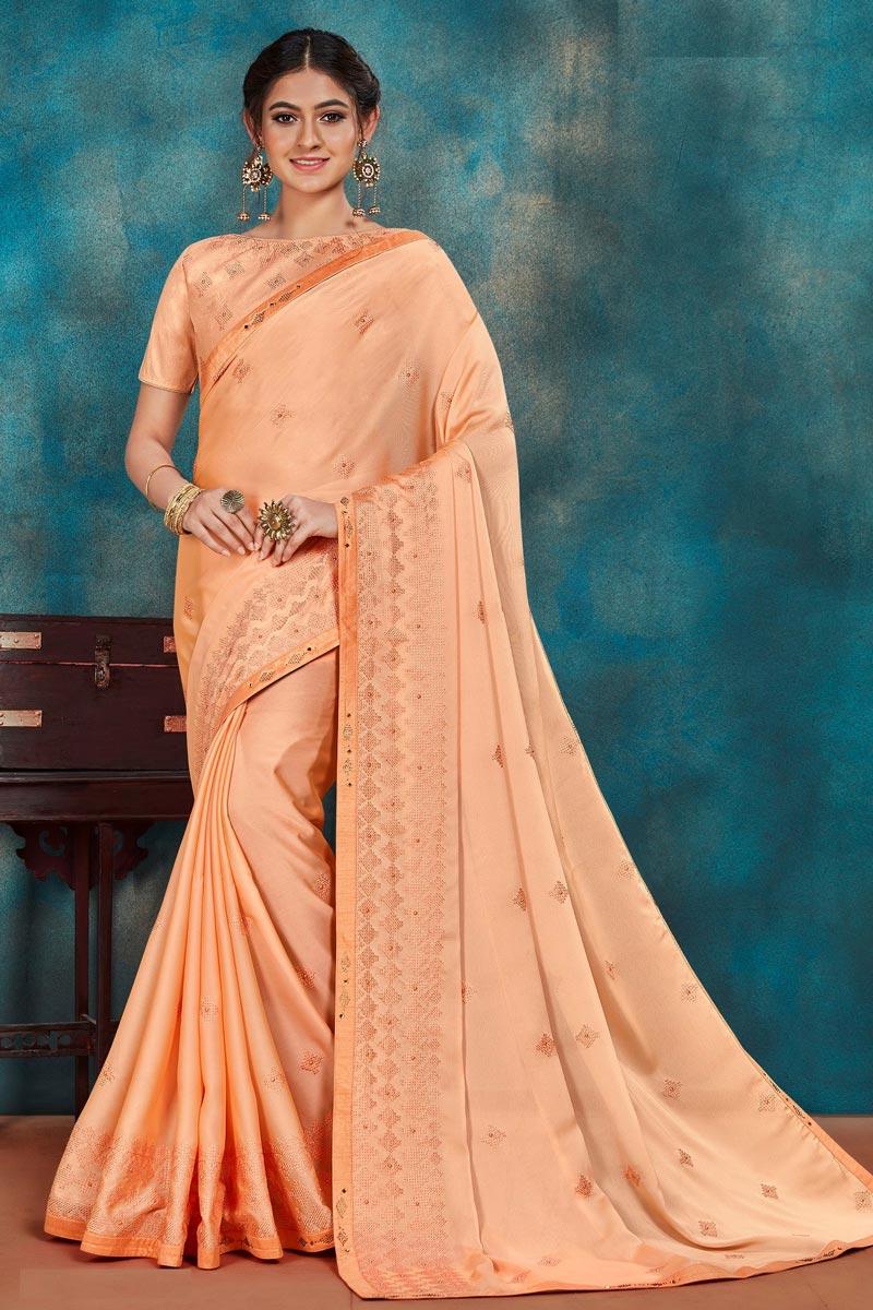 Festive Wear Art Silk Fabric Chic Peach Color Thread Embroidered Saree
