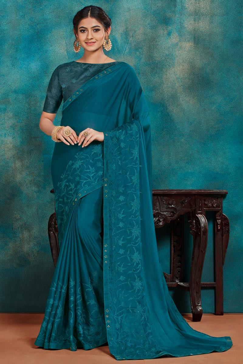 Festive Wear Teal Color Chic Thread Embroidered Saree In Art Silk Fabric