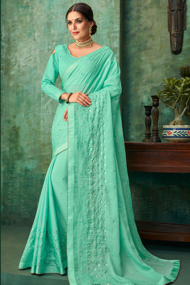 Light Turquoise Party Wear Embroidered Saree In Georgette Fabric With Designer Blouse