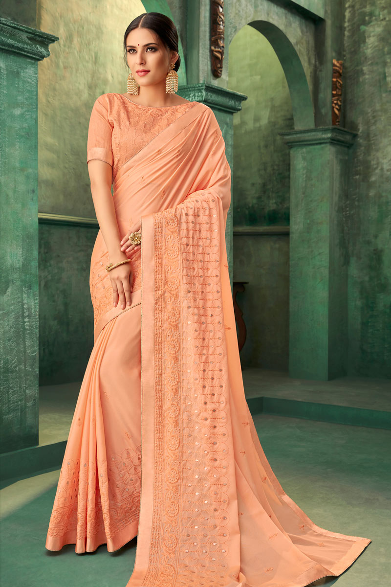 Georgette Fabric Salmon Occasion Wear Saree With Embroidery Work And Elegant Blouse