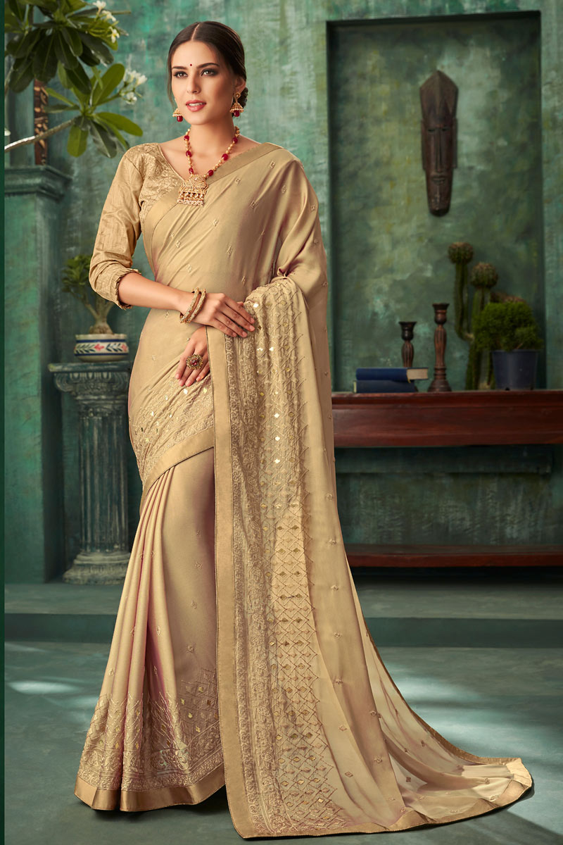 Function Wear Georgette Fabric Embroidered Saree In Cream With Party Wear Blouse